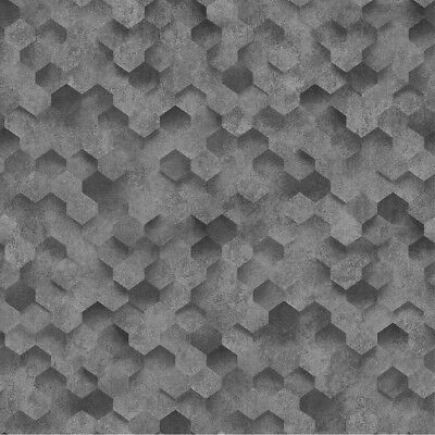 Anthracite Grey 3D Effect Honeycomb Hexagon Wallpaper Paste The Wall Vinyl P+S