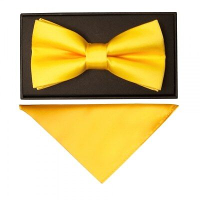 TiesRus Plain Bright Yellow Hand Made Mens Bow Tie and Handkerchief Set Wedding