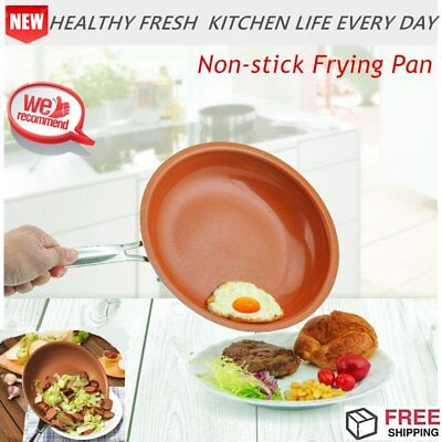 Non-stick Copper Frying Pan No Oil-smoke 20cm Kitchen Cooking Ceramic Coating FS