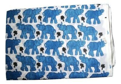 Indian Elephant Elephants red gold duck egg blue remnant fabric piece 65x40cm