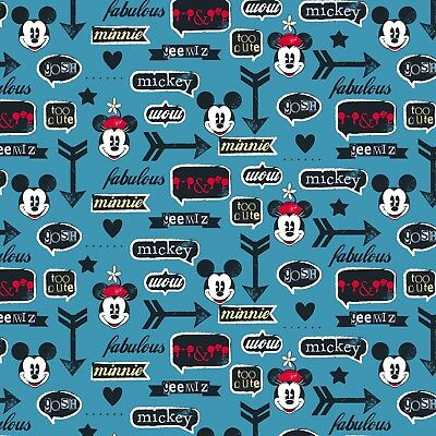 Disney Fabric  - Mickey & Minnie Mouse & Icons - Blue - 100% Cotton