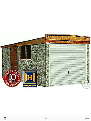 "CONCRETE SECTIONAL GARAGE GARAGES SHEDS  16ft 3"" X 8FT 6"" PENT ROOF"