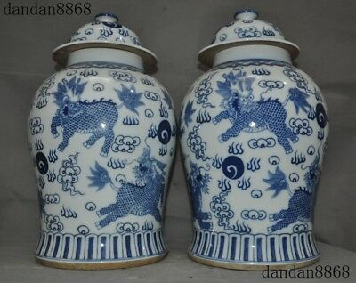 Chinese Blue&white porcelain glaze Kirin Unicorn Kylin Qilin Tank Crock Pot Jar