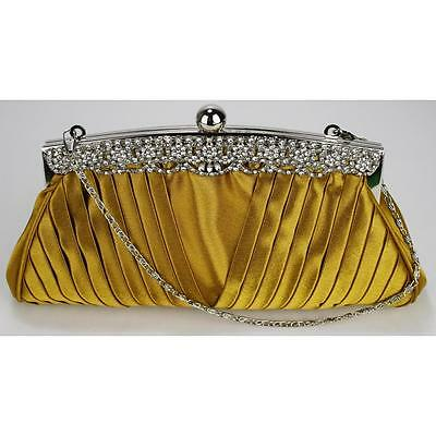 0111 -satin WEDDING EVENING CLUTCH hand BAG ruched diamante crystal evening