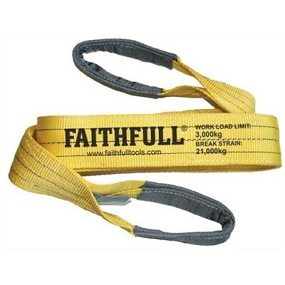 Faithfull XLP-03 2 METRE Lifting Sling Yellow 3 Tonne 90mm x 2m