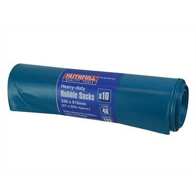Faithfull FAIBAGRS10H Blue Heavy-Duty Rubble Sacks Pack of 10