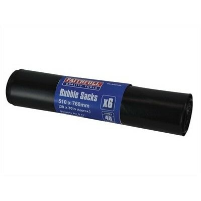 Faithfull FAIBAGRS6 Black Rubble Sacks Pack of 6