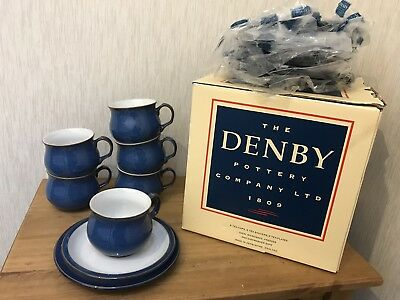 Denby Imperial Blue 18 piece Tea coffee set cups saucers Side plates New & Boxed