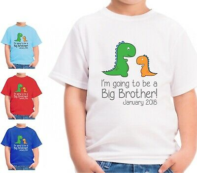 Personalised Dinosaur Im Going To Be A Big Brother Kids T Shirt Childrens Tshirt