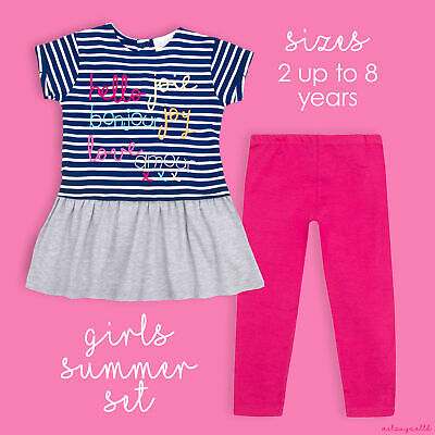 MINIKIDZ Infant Girls Tunic & Leggings Outfit Cotton Rich Striped Clothes Set