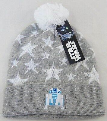 8f1692417f5 Star Wars R2D2 Winter Hat One Size Girls Pom Pom Knit Beanie Gray   White  NEW
