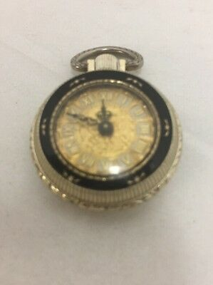 Vintage Inventic Pendant Watch Roman Numeral Wind Up Gold Tone