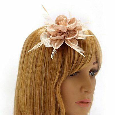 Nude Ladies Fascinators Mesh Feathers Clip Wedding Prom Ladies Day Races New