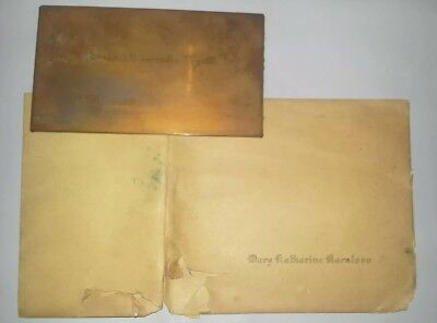 Antique Rare 1920s Copper Name Card Plate With Envelope Art Deco