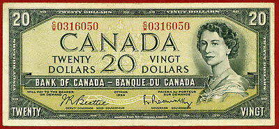CANADA   1954   ( 1955 )  20 Dollars    World paper money bank note currency