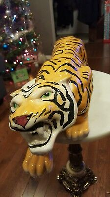 Vintage 1977 Arnel's Pottery HUGE Bengal Tiger 2' Long Arnel Pottery Signed