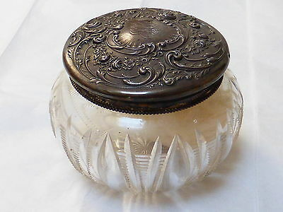 VINTAGE Art Nouveau STERLING SILVER CUT GLASS POWDER JAR