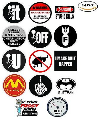 Funny Hard Hat Stickers - BEST SELLER - 14 Decal Value Pack. Great for a