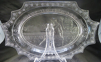 Queen Cleopatra Antique VTG Egyptian Glass Bread Plate Dish Tray EAPG Pharaoh