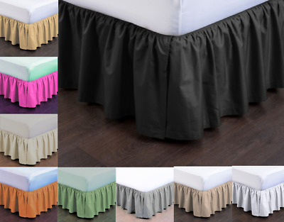 New Modern Solid Dust Ruffle Split Corners 1Pc Bed Bedding Pleated Skirt Queen