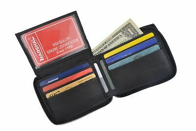 Genuine Leather Men's Zipper Zip-Around Organizer Bifold Wallet Black Brown Gift