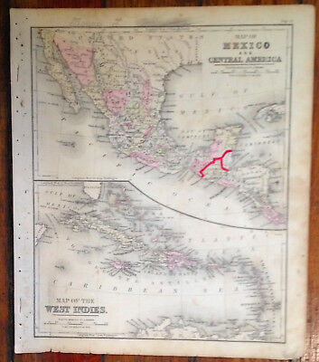 """Tinted Antique 1881 """"Map of Mexico & Central America"""",Warren's School Geography"""