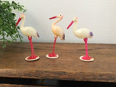 3 Miniature Celluloid Stork Birds Japan