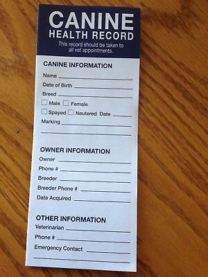 Lot of 10!!! Canine puppy dog health shot record