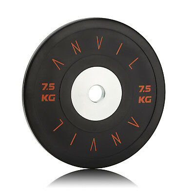 Elite Competition Bumper Gym Weight Plate - 7.5kg Black