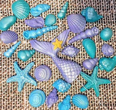 Sea Shells Fish Tail Mermaid Tail BEACH party Cake/Cupcake Toppers Mix