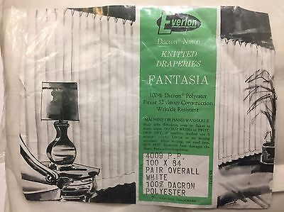 Pair Of Vintage 1960s NEW Everlon Sheer White Curtains Pinch Pleats 100 X 84 NOS