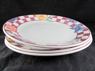"""3 Johnson Brothers Hopscotch Red Dinner Plates, 10-3/8"""", checks, 2 sets avail"""