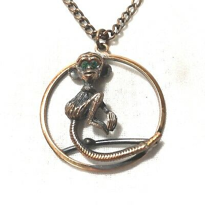 """Vintage Copper Monkey with Green Rhinestone Eyes Necklace Pendant on 24"""" Chain"""