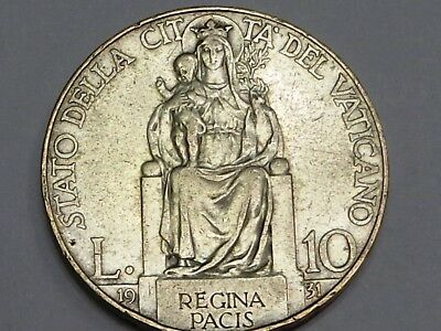 Vatican Silver 10 Lire 1931 St Mary Queen of Peace on Throne Baby Jesus Pius XI