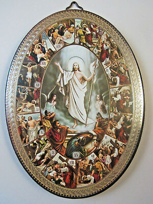 """Stations of the Cross Icon Picture on Wood Oval 5 3/4"""" Made in Italy"""