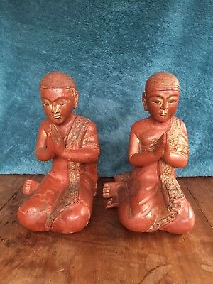 Rare pair old antique Burmese Buddha monk carvings statues red wood gilt gold