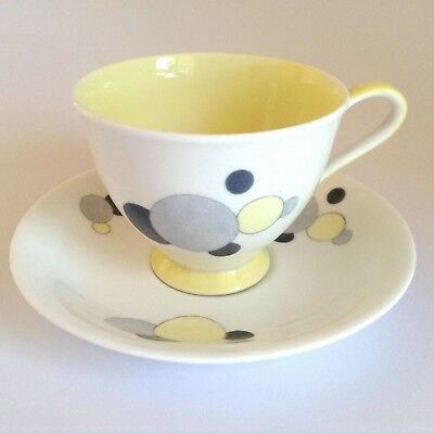 Vintage 1950s ROYAL STANDARD Carousel Polka Dot Bone China Cup & Saucer Duo 1336