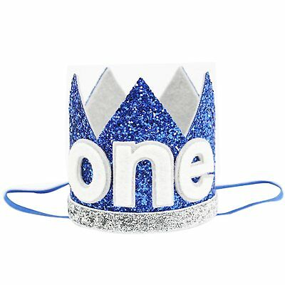 Baby Boy Birthday Crown Headband Prince Party Hat Hairband Photo Prop Blue ONE