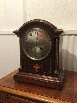 ANTIQUE EDWARDIAN BRACKET CLOCK WITH GERMAN Junghans MOVEMENT 8 Day