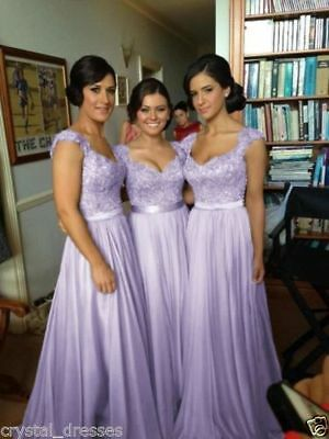 lilac  New Chiffon Formal Evening Bridesmaid Dresses Party Ball Prom Gown Dress