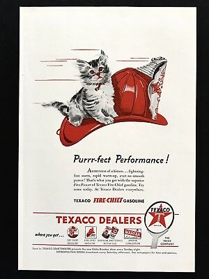 1946 Vintage Print Ad 40's TEXACO Dealers Gas Oil Illustration Fireman Hat Cat