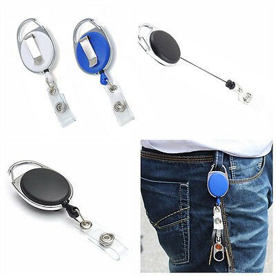 one Reel Retractable Recoil ID Badge Lanyard Name Tag Key Card Holder Belt Clip