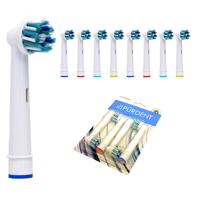 8 Pürdent Toothbrush Heads For Braun Oral B CrossAction Cross Action Brush