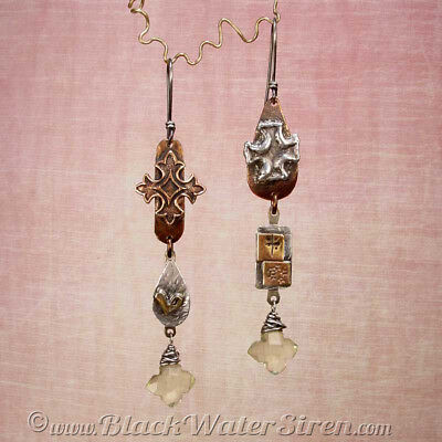 HARLOT'S DEVOTION - OOAK - One Of A Kind Abstract Sterling Silver Earrings