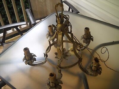 ANTIQUE VINTAGE CAST METAL ART DECO Ceiling 5 Light Fixture CHANDELIER