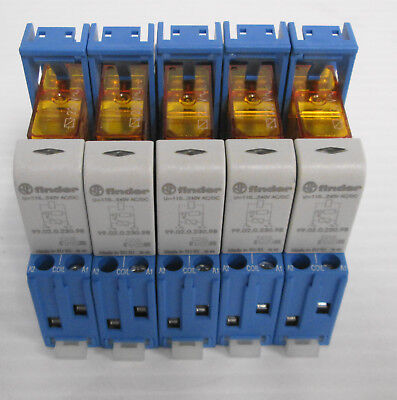 (5) Finder 48.52.8.230.0060 Relay Interface Modules DPDT 230VAC 8A DIN Rail