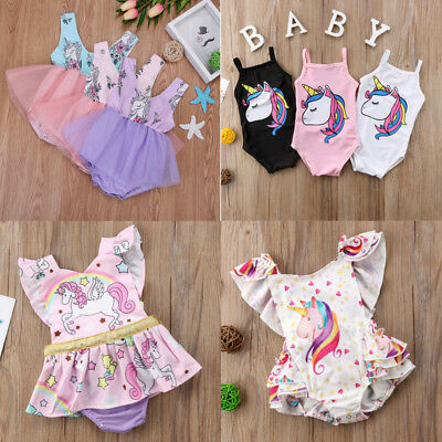 AU Newborn Baby Girls Unicorn Sleeve Lace Romper Tutu Fancy Dress Costume