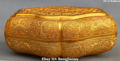 """8"""" Chinese Bronze Gold Gilt Ancient Dynasty Dragon Tuck Box Pastry Case Statue"""