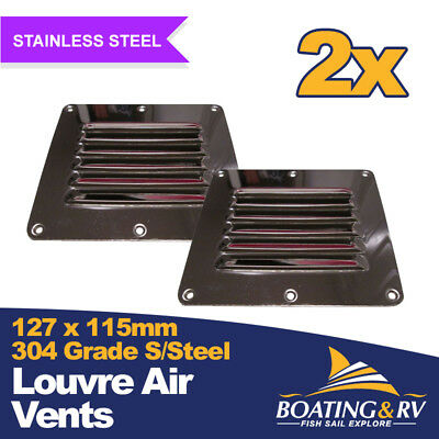 2 x Stainless Steel Boat Louvre Vent - 127mm x 115mm - Boating Deck Hardware
