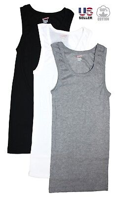 Lots 3-6 Mens 100% Cotton Tank Top A-Shirt Wife Beater Undershirt Ribbed New